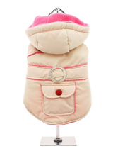 Cream / Pink Quilted & Hooded Bodywarmer - Practical with a splash of bling! This cream hooded bodywarmer is trimmed with fuchsia pink piping and has a diamante style belt loop. It also has a pocket which is perfect for treats and those all important small plastic bags. The soft fleece lining will certainly keep your dog snug and warm.