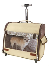 Cream / Brown Travel Carrier - This Cream / Brown Travel Carrier is an amazing fantastic versatile item. You will wonder how you managed without it. When you extend the telescopic handle it can be used as a wheeled carrier and can be pulled along on its wheels, just like a regular suitcase, the only difference this time is that t...