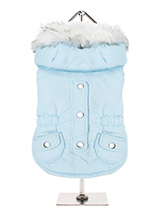 Eskimo Parka in Baby Blue - This is a luxurious fleece lined Parka which features a faux fur trimmed hood and an elasticated waist for a great fit. A great combination of style, quality and practicality. Guaranteed to keep you dog warm and snug. The coat is finished with two pockets and chrome buttons along the spine but it ac...