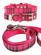Fuschia Pink Tartan Fabric Collar & Lead Set - Our Fuschia Pink Checked Tartan collar and lead set is a traditional design which is stylish, classy and never goes out of fashion. It is lightweight and incredibly strong. The collar has been finished with chrome detailing including the eyelets and tip of the collar. A matching lead, harness and ba...