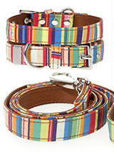 Henley Striped Fabric Collar & Lead Set - Our Henley Striped pattern collar and lead set is a rich contemporary style and the striped pattern is right on trend. It is lightweight and incredibly strong. The collar has been finished with chrome detailing including the eyelets and tip of the collar. A matching harness and bandana are available...