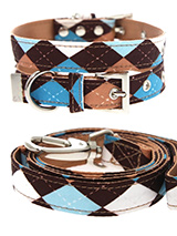 Brown & Blue Argyle Collar & Lead Set - Our Brown and Blue Argyle Collar and Lead Set is a traditional Scottish design which represents the Clan Campbell of Argyll in western Scotland. It is stylish, classy and never goes out of fashion. Used for kilts and plaids, and for the patterned socks worn by Scottish Highlanders since at least the...