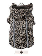 Leopard Print Rainstorm Rain Coat - Our new Leopard print Rainstorm Rain coat will protect your dog from the rain and with it's hi-visibility stripe will help them be seen. The adjustable draw string hood will keep the raincoat snug to your dogs face and a drawstring on the hem will allow you to get a nice tight fit to keep the body w...