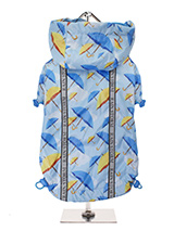 Umbrella Print Rainstorm Rain Coat - Our new Umbrella Rainstorm Rain coat will protect your dog from the rain and with it's hi-visibility stripe will help them be seen. The adjustable draw string hood will keep the raincoat snug to your dogs face and a drawstring on the hem will allow you to get a nice tight fit to keep the body warm a...