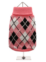 Pink & Black Argyle Sweater - Knitted pink sweater with a black and white diamond pattern. The Argyle pattern has seen a resurgence in popularity in the last few years due to its adoption by Stuart Stockdale in collections produced by luxury clothing manufacturer, Pringle of Scotland. The rich Scottish heritage will give your pu...