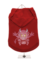 GlamourGlitz Little Devil Dog Hoodie - Exclusive GlamourGlitz 100% Cotton Hoodie. A devilish T-Shirt for your little devil, a beautiful devil design crafted with Pink Rhinestuds that catch a sparkle in the light. Wear on it's own or match with a GlamourGlitz ''Mommy and Me'' Women's T-Shirt to complete the look.