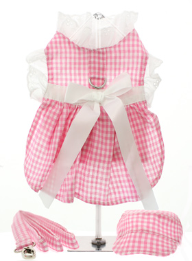Pink Gingham / White Satin Ribbon Harness Dress, Lead & Hat